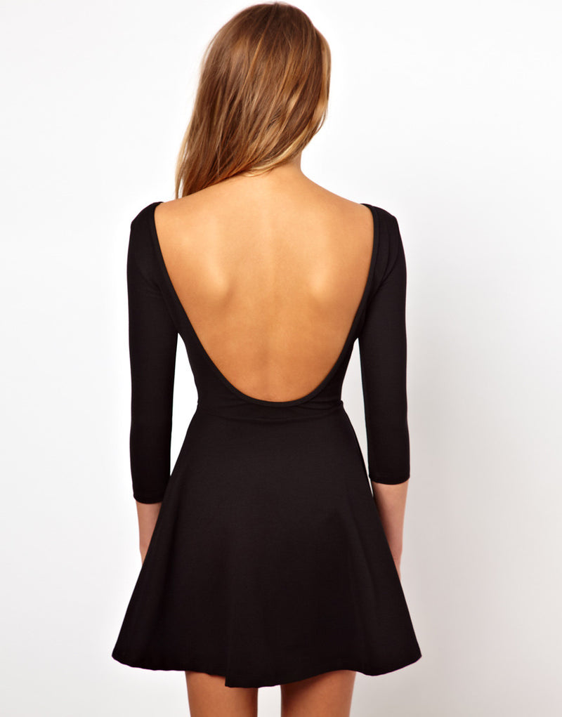Backless Deep V Neck Club Short Dress - O Yours Fashion - 3