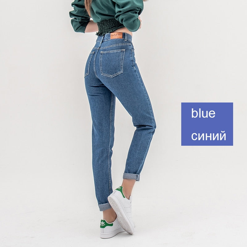Plus Size Cuffs Stretch High Waist Regular Denim Pants