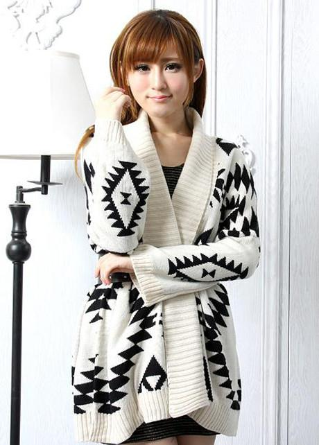 Loose Geometry Pattern Long Sleeve Knitting Wool Cardigan - MeetYoursFashion - 2