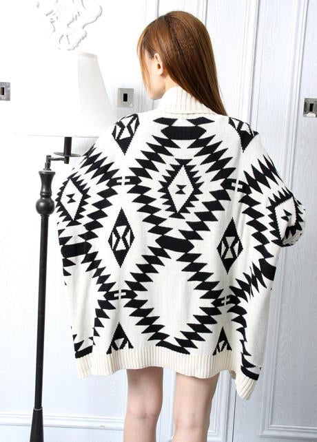 Loose Geometry Pattern Long Sleeve Knitting Wool Cardigan - MeetYoursFashion - 3