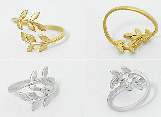 Korean Style Cute Leaf Design Rings - O Yours Fashion - 4