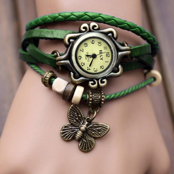 Butterfly Wrap Leather Bracelet Wrist Watch - MeetYoursFashion - 2