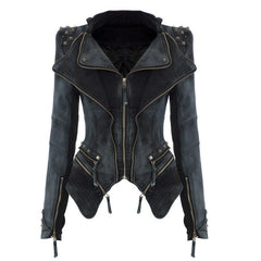 Rivets Shoulder Denim Tuxedo Jacket - Oh Yours Fashion - 3