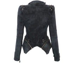 Rivets Shoulder Denim Tuxedo Jacket - Oh Yours Fashion - 5