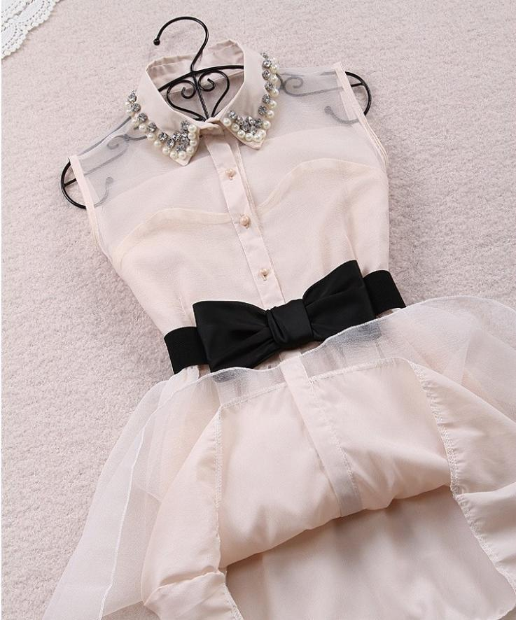 Fashion Beadings A-line Short Bowknot Belt Dress - MeetYoursFashion - 2