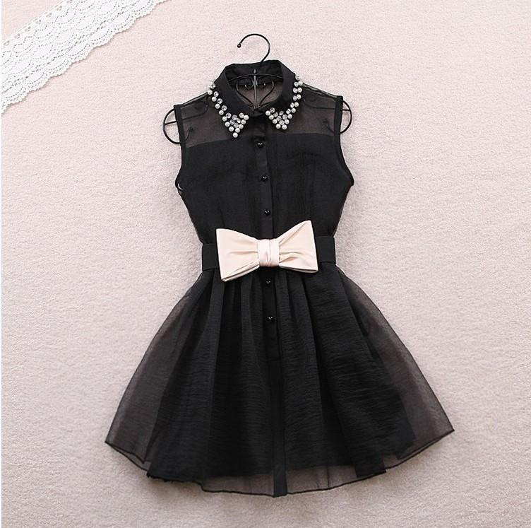 Fashion Beadings A-line Short Bowknot Belt Dress - MeetYoursFashion - 3