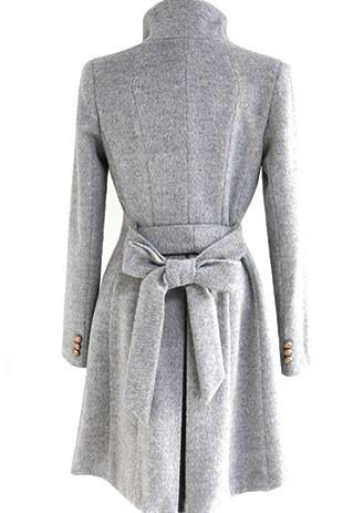 Slim Bowknot Sash Worsted Trench Coat - MeetYoursFashion - 5