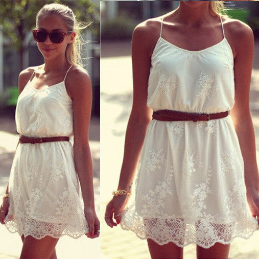 White Lace Spaghetti Strap Dress - O Yours Fashion - 1