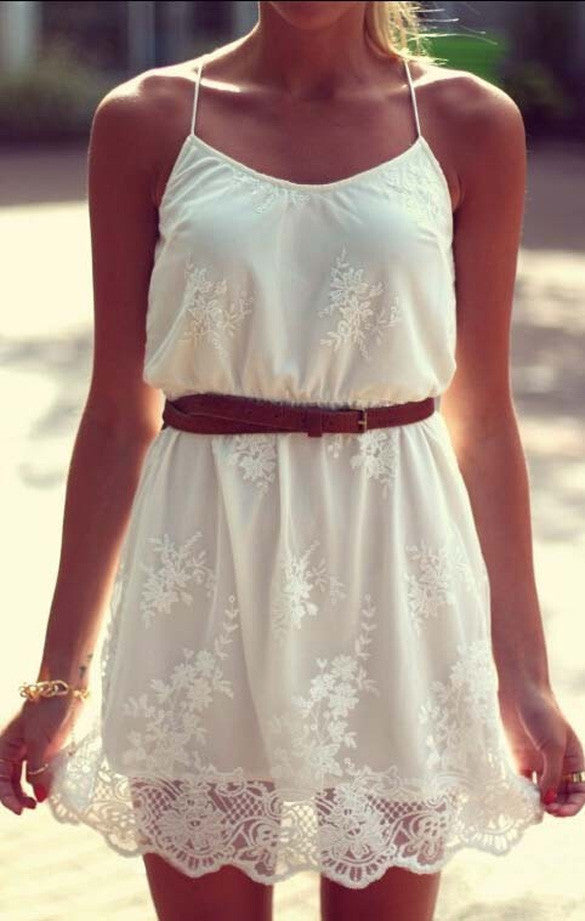 White Lace Spaghetti Strap Dress - O Yours Fashion - 3