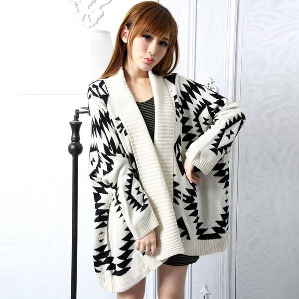 Loose Geometry Pattern Long Sleeve Knitting Wool Cardigan - MeetYoursFashion - 1
