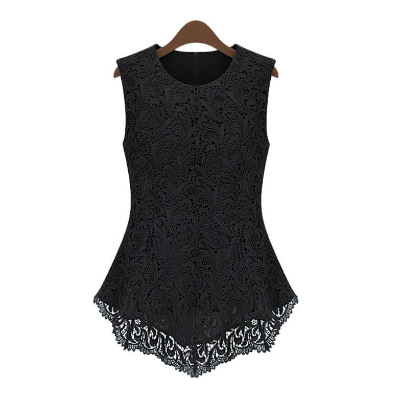 Slim Pure Color Tank Lace Blouse - MeetYoursFashion - 1