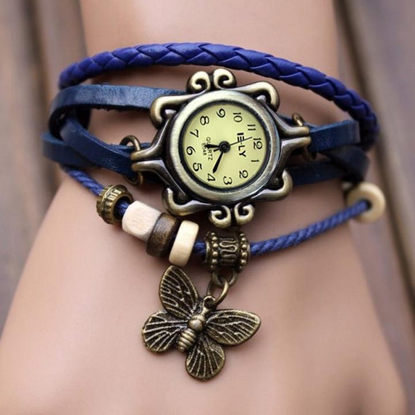 Butterfly Wrap Leather Bracelet Wrist Watch - MeetYoursFashion - 1