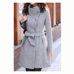 Slim Bowknot Sash Worsted Trench Coat - MeetYoursFashion - 1