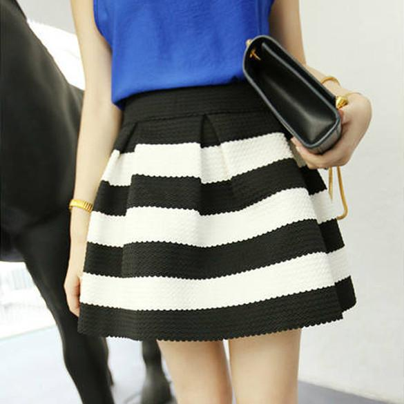 High Waist Stripe Mini Skirt - Meet Yours Fashion - 1