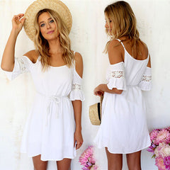 2016 Newest!! Women Summer Fashion Sweet Casual Lace White Off-shoulder Loose Strap Mini Dress - Oh Yours Fashion - 1