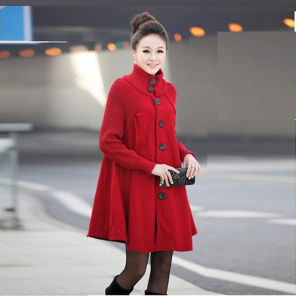 Women Loose Button Splicing Long Coat - O Yours Fashion - 2