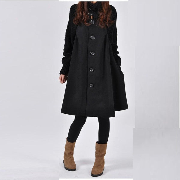 Women Loose Button Splicing Long Coat - O Yours Fashion - 3