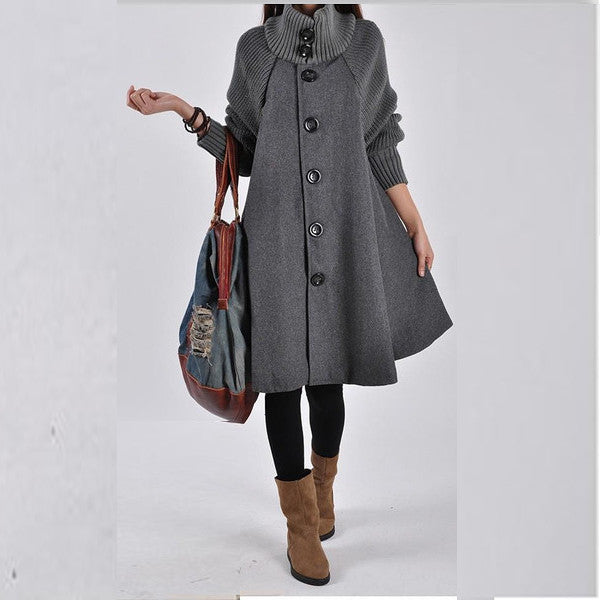 Women Loose Button Splicing Long Coat - O Yours Fashion - 1
