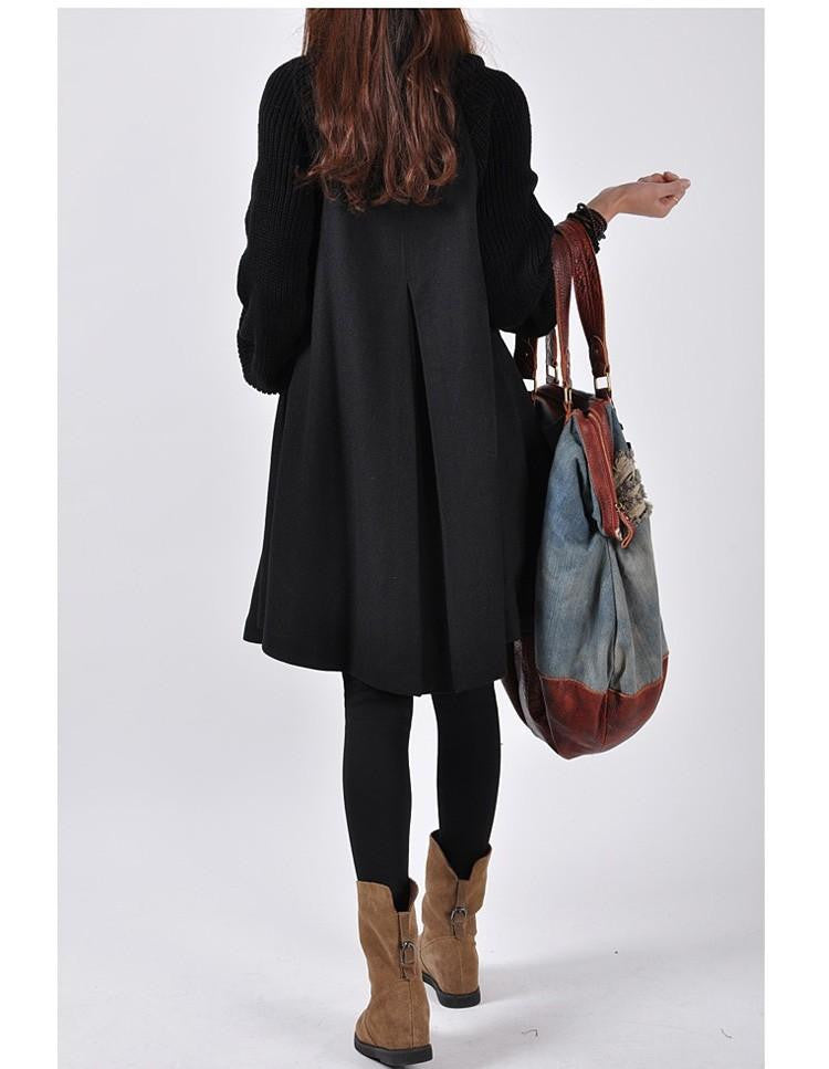 Women Loose Button Splicing Long Coat - O Yours Fashion - 4