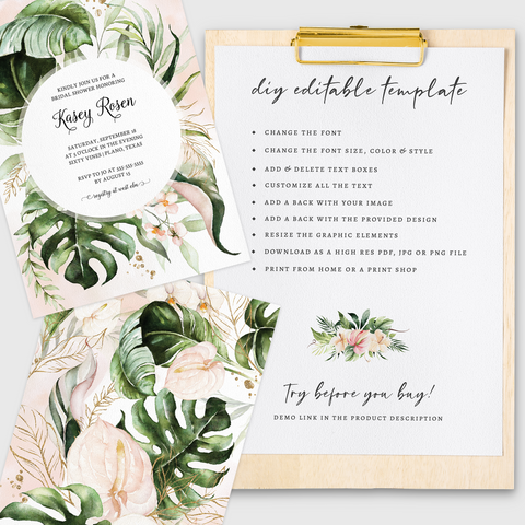 How you can edit your instant download printable template