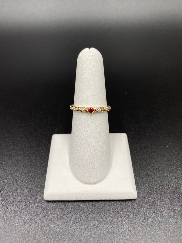 Ruby Stackable Ring with One Red Ruby in Bezel
