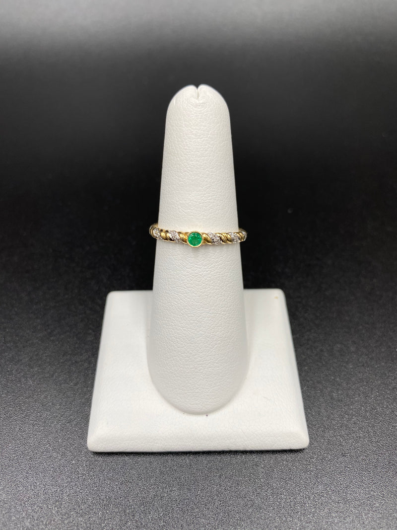Emerald Stackable Ring with One Round Emerald in Bezel