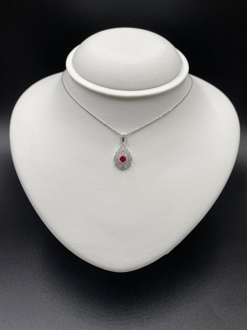 Vintage Filagree Design Ruby & Diamond Pendant