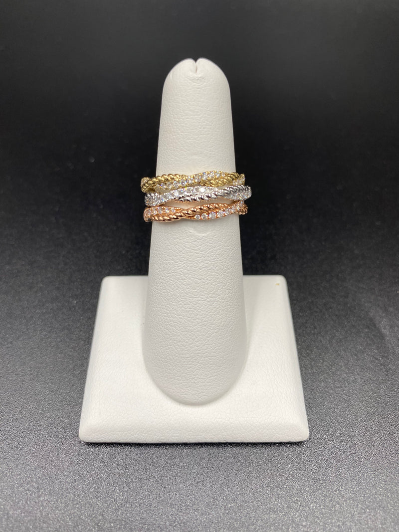 Rose Gold Twisted Rope & Diamond Band
