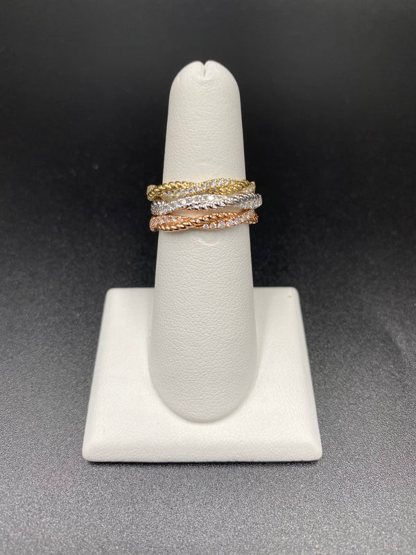 Twisted Rope & Diamond Band