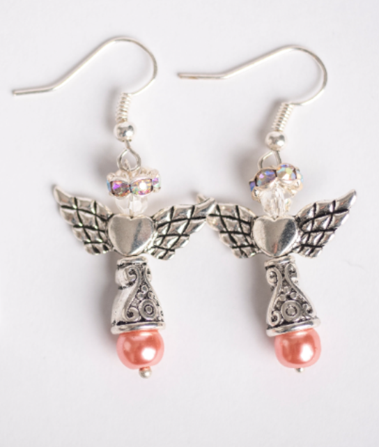 Breast Cancer Awareness Silver Angel Earrings