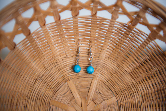 Turquoise Howlite Orb Earrings | Boho Style Earrings