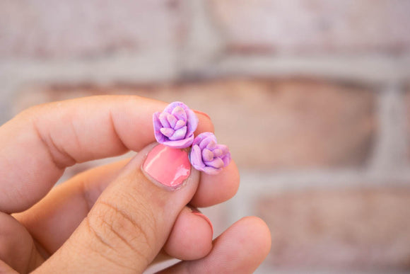 Fuchsia Fun Rose Stud Earrings - Polymer Clay Stainless Steel Posts Gifts for Women
