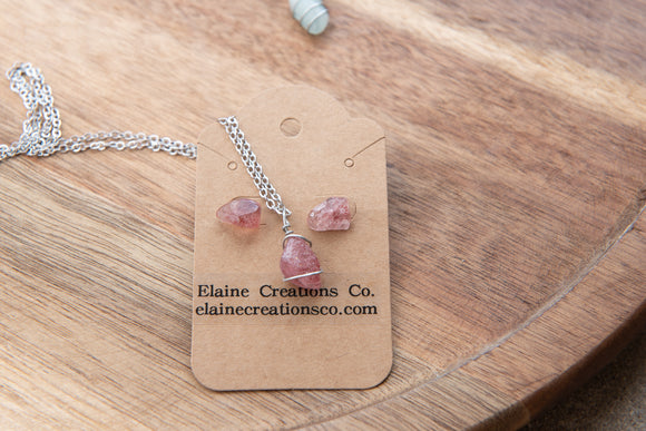 Rose Quartz Earrings & Necklace Jewelry Set | Small Tumbled Crystal Boho Stud Earrings & Necklace Set