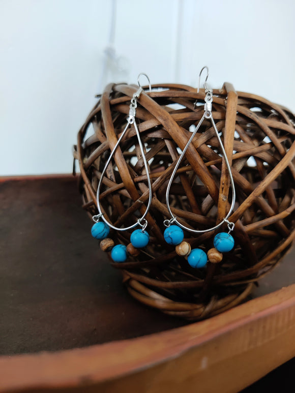Turquoise Howlite Teardrop Earrings | Boho Style Earrings