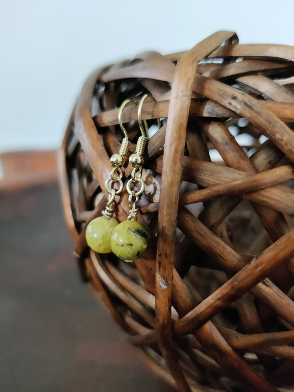 Yellow Turquoise Gemstone Orb Earrings | Boho Style Earrings