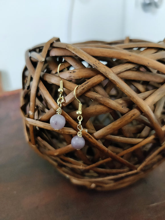 Lilac Lepidolite Orb Earrings | Boho Style Earrings