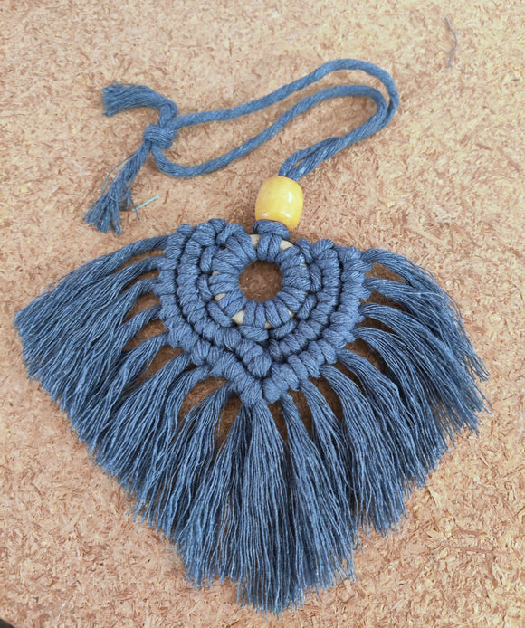 Macramé Car Charm - Colon Cancer Awareness | Boho Style Décor