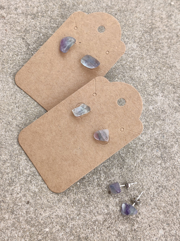 Raw Stone Earrings Crystal Fluorite | Rough Crystal Boho Stud Earrings