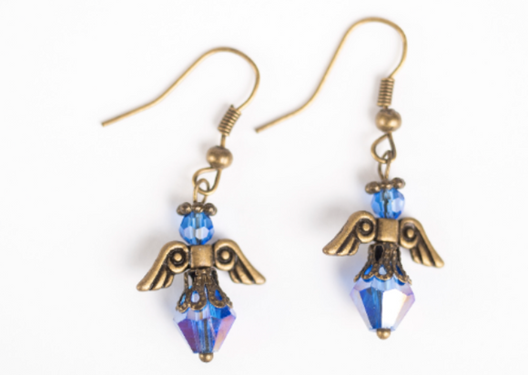 Colon Cancer Awareness Angel Earrings | Small Blue Angel Earrings