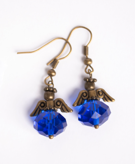 Colon Cancer Awareness Angel Earrings | Navy Blue Angel Earrings