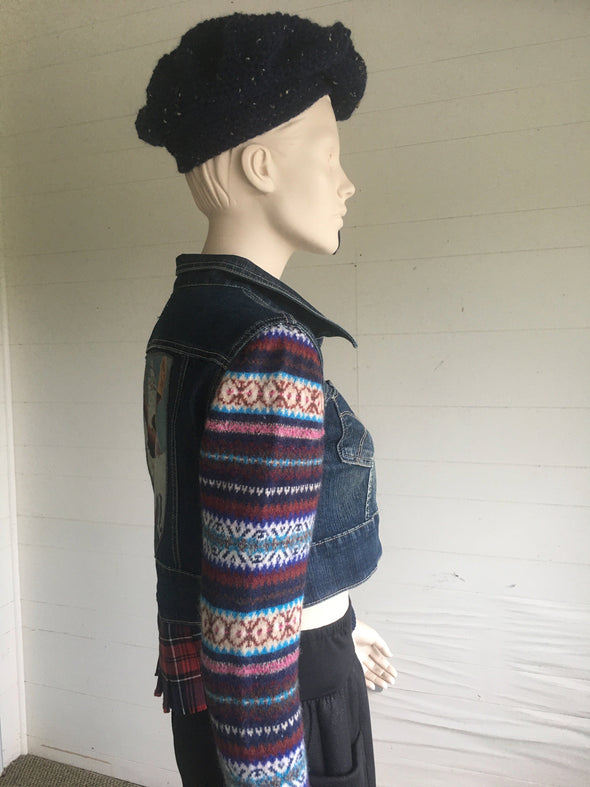 UPCYCLED JEAN JACKET SMALL #2 - DejaVuDesign