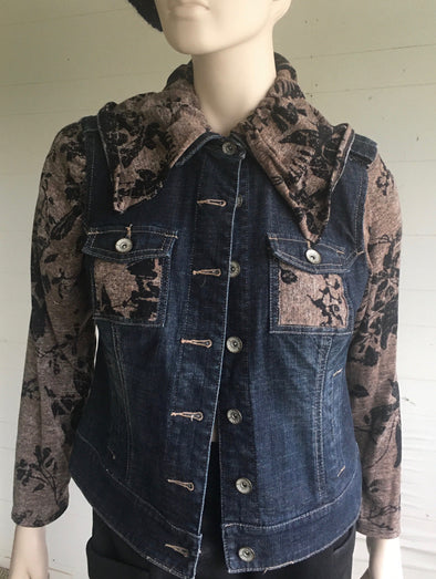 UPCYCLED JEAN JACKET SMALL #3 - DejaVuDesign