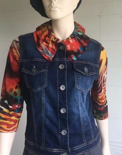 UPCYCLED JEAN JACKET SMALL #4 - DejaVuDesign