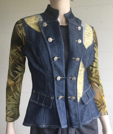 UPCYCLED JEAN JACKET SMALL #7 - DejaVuDesign