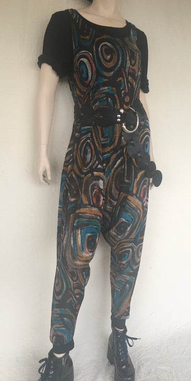 HAREM JUMPSUIT - one size - abstract peacock colours