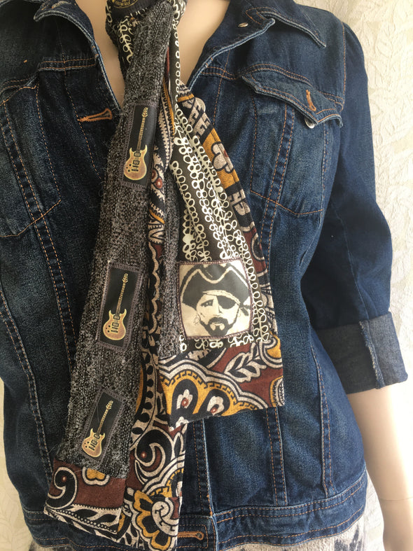 tie scarf - grey / gold paisley + guitars