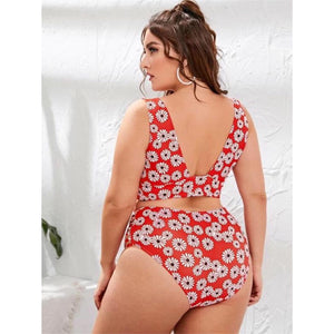 Gerbera Red High Waist Bikini Set