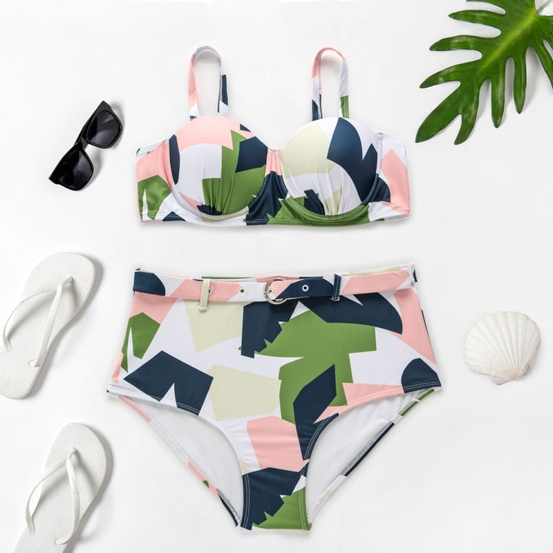De Stijl High Waist Bikini Set