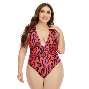 Red Leopard One Piece Swimsuit