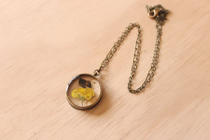 Preserved Honey Bee + Buttercup Necklace